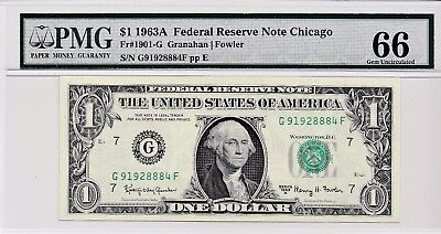 $1 1963A Federal Reserve Note Chicago S/N G91928884F PMG 66 Gem Unc