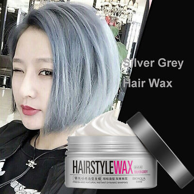 Unisex Temporary Modeling Gray silver DIY Hair Color Wax Mud Dye Cream BQY5#
