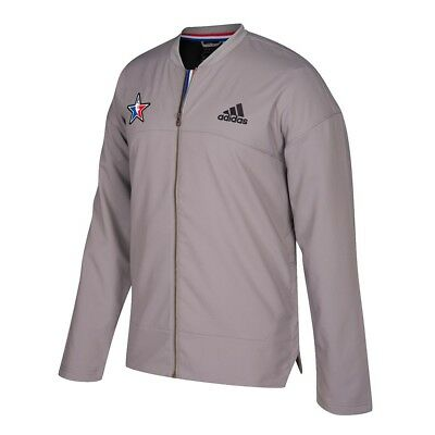 Adidas 2017 NBA All Star Official Authentic On-Court Full Zip Grey Jacket Men's