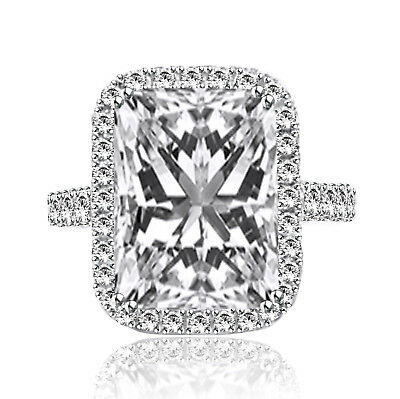 5.00 Ct Radiant Cut F/vs1 Diamond Solitaire Engagement Ring 18K White Gold