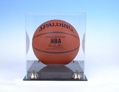 Basketball Acrylic Display Case with Black Acrylic Base and Gold Risers