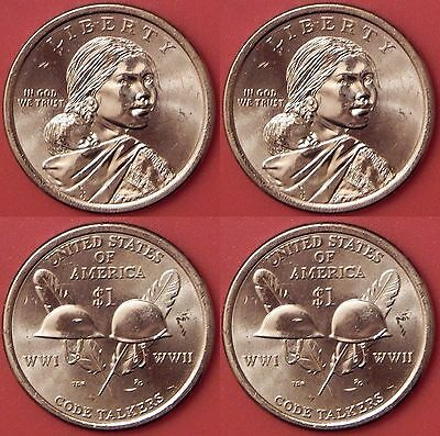 Brilliant Uncirculated 2016 P & D US Native American 1 Dollars From Mint's Rolls