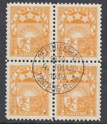 LATVIA  1927 2s ARMS block of 4 with commemorative 1939 postmark