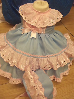 Dream Baby Romany Spanish Lined Blue Pink Dress Bonnet  0-18 Months Reborn Doll