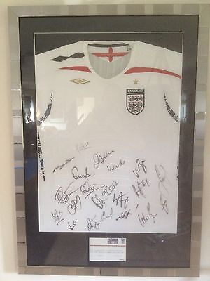 Signed England Football Soccer Shirt 2007 -  Professionally Mounted.