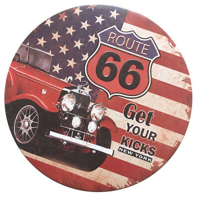 Vintage American Style Route 66 Spotted Round Tin Sign Pub Bar Wall Decals