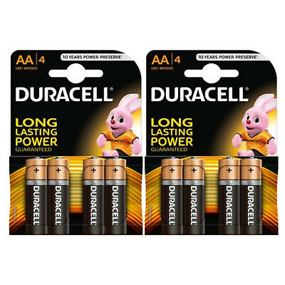 8 X Duracell Alkaline Aa 1.5V Batteries - Longer Lasting Power - Expiry 03/2026