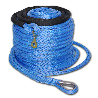 "92'x2/5"" Winch Synthetic Rope Cable w Thimble Sleeve 17500 12000 10000 8000lb"