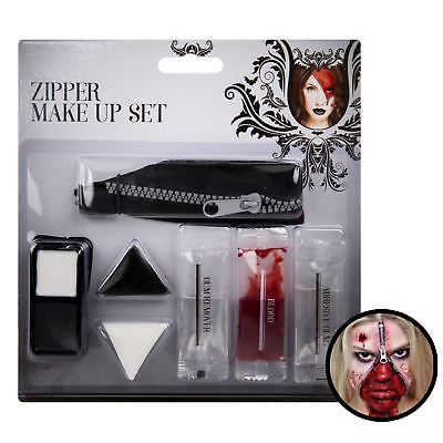 Halloween Scary Zombie Zip Zipper Make Up Kit Fake Blood Horror Party Face Paint