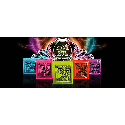 ERNIE BALL ELECTRIC SLINKY GUITAR STRINGS All Sizes and packs of 3 & COASTERS