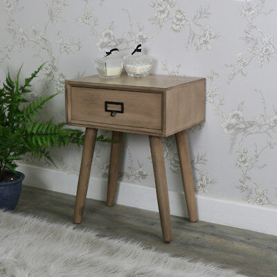 Wooden 1 drawer bedside lamp table retro urban style office bedroom furniture