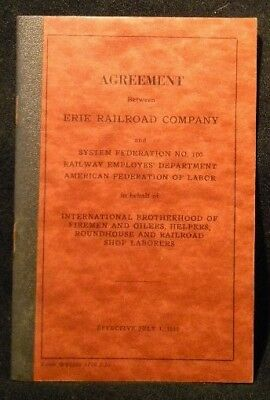 Erie Agreement Firemen Oilers Helpers Roundhouse RR Shop Laborers 1953