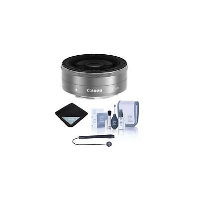 Canon EF-M 22mm f/2 STM Lens - Silver with Free Basic Accessory Bundle