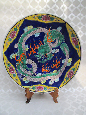 Beautiful Colourful JAPANESE Plate with Dragon (5)
