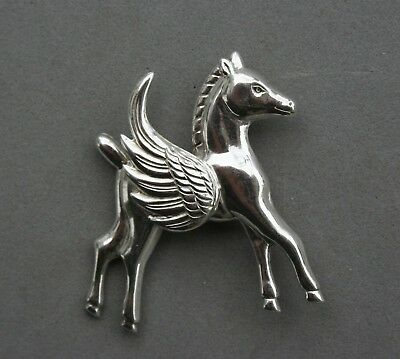 Pegasus Pin Sterling Silver Flying Horse Wings Vintage Lang Brooch 1 3/4""