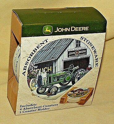 John Deere Coasters Absorbent Stoneware Set 4 Wood Holder Leos Naturestone New