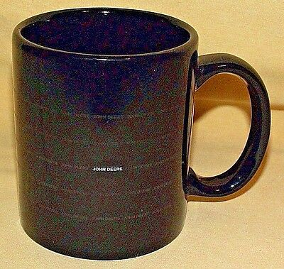 John Deere Mug Black Ceramic Coffee Tea Cup Advertising Tractor Farm Implement