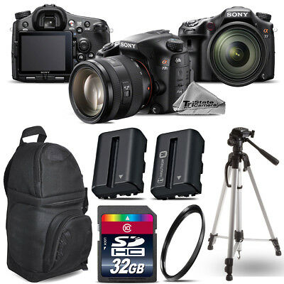 Sony Alpha a77 DSLR + 16-50mm 2.8 + Extra Battery + UV + Backpack -32GB Bundle