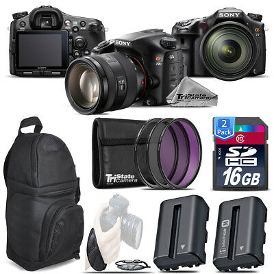 Sony Alpha a77 DSLR + 16-50mm 2.8 + Extra Battery + Backpack + 32GB -Power Kit