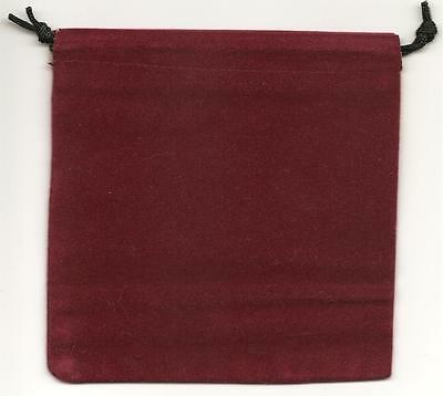 "Jewelry Pouches Velour/Velvet type Pouch-Lot of 5 Burgundy Color-Size: 5 1/4"" Sq"