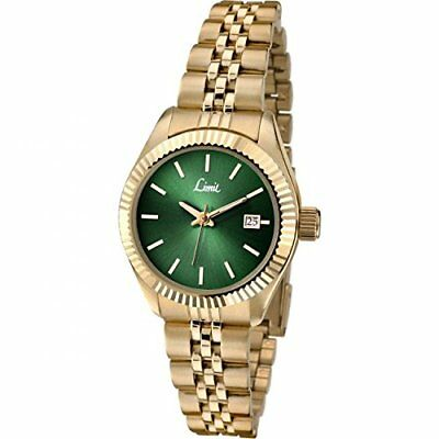 Limit Classic Green Dial Gold Plated Stainless Steel Bracelet Ladies Watch 6122