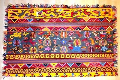 "PERUVIAN Large Designed Orange, Red, & Gray, 100% Cotton Woven 46"" x 58"" Rug"