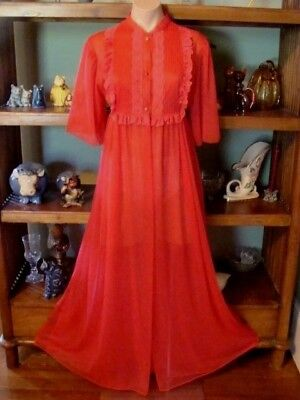 """Ladies/Womens Vintage J.C. Penney Long Chiffon Peignoir Robe - Bust to 36"""" - Red"""