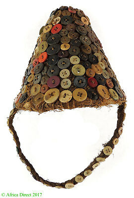 Lega Hat with Buttons Basketry Bwami Society Congo Africa