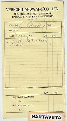 1936 Vernon BC Hardware Co Ltd Receipt BritishColumbia Okanagan Tinsmiths Stove