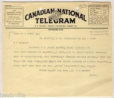 1939 HiramWalker Sons CN CanadianNational Telegram Victoria BC Britishcolumbia