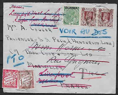 Burma covers 1939 Wandercover with French Due PTO written Interesting