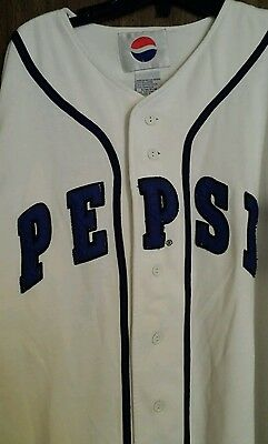 PEPSI Baseball JERSEY Shirt SMALL MEDIUM Pop SODA Cola BLUE White BUTTON DOWN
