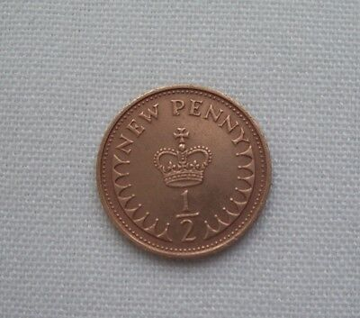 British 1/2 penny coin 1971
