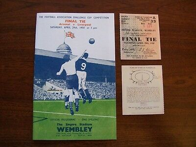 1950 FA Cup final programme & Ticket Arsenal V Liverpool new mint con. repro.