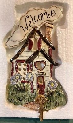 Clayworks Heather Goldminc Welcome Home Wall Plaque Nib