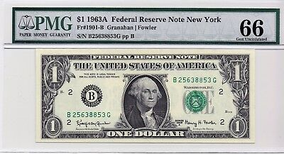 $1 1963A Federal Reserve Note New York S/N B25638853G PMG 66 Gem Unc