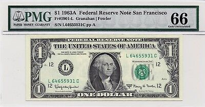 $1 1963A Federal Reserve Note San Francisco S/N L64655931C PMG 66 Gem Unc