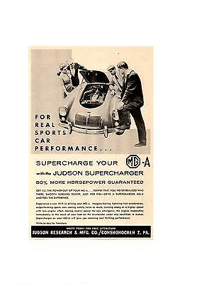 1958 Mg Mga / Judson Supercharger ~ Original Smaller Print Ad