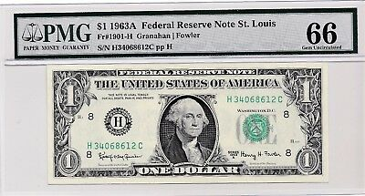 $1 1963A Federal Reserve Note St. Louis S/N H34068612C PMG 66 Gem Unc
