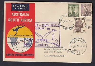 1952 FLIGHT COVER AUSTRALIA to SOUTH AFRICA