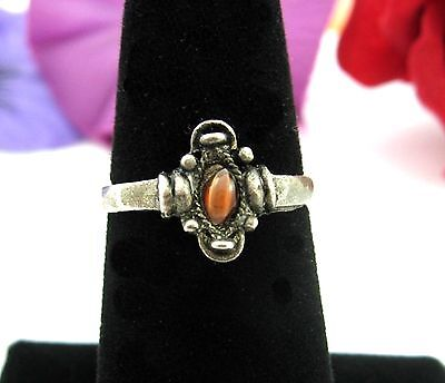 Imitation Tiger's Eye BROWN STONE With STRIPE Silvertone RING Vintage Size 6.5