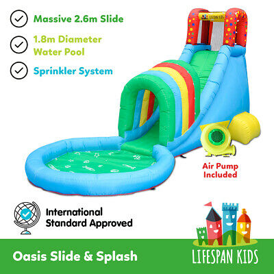 Inflatable Water Jumping Castle Bouncer Toy Oasis Slide & Splash lifespan kids