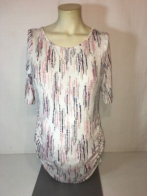 Women's White Multi Color Motherhood Maternity Ruched Top Size S NWT