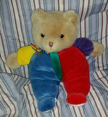 Vintage RARE Eden Soft Plush Stuffed Primary Colors Teddy Bear