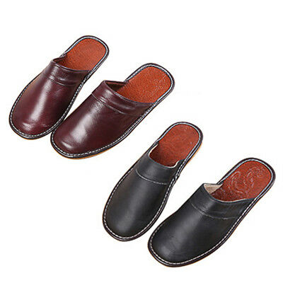 Luxury Mens Slippers Shoes Classic Leather Closed Toe Indoor House Slippers