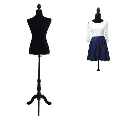 Black Foam Female Mannequin Torso Dress Form Display W/ Black Tripod Stand