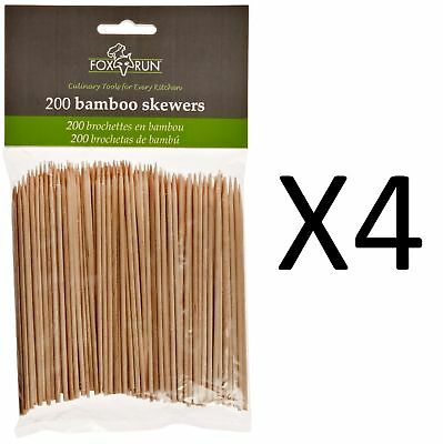 """Fox New Run Bamboo Skewers Appetizer Party Sticks - 4"""" Set Of 200 (4-Pack)"""