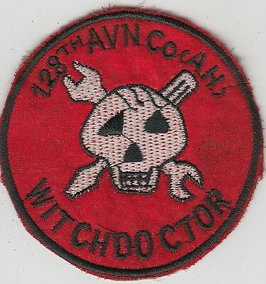 US Army 128th Assault Helicopter Company Vietnam Patch - Witchdoctor - UH1 Huey