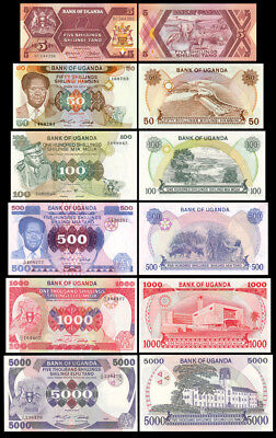 Set of 6Pcs Uganda 5+50+100+500+1000+5000 Shillings Paper Money,Uncirculated