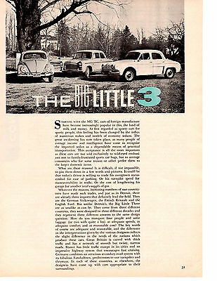 1959 Renault / Volkswagen / English Ford ~ Original 5-Page Article / Ad